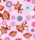 Snuggle Flannel Fabric 42\u0027\u0027-Feminine Monkey Tossed