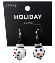 hildie & jo Holiday Earrings-Snowman Face, , hi-res