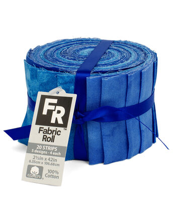 Jelly Roll Cotton Fabric Pack 2.5''x42''-Blue Texture