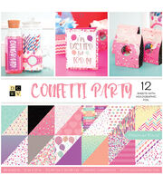 DCWV Confetti Party 36 pk 12''x12'' Cardstock Stack, , hi-res