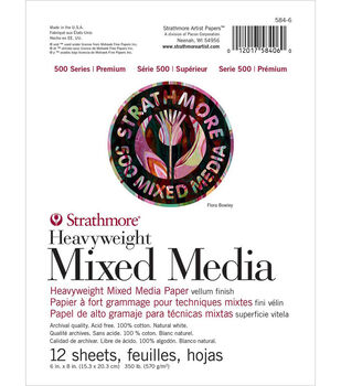 Strathmore 500 Series 12-sheet 6''x8'' Heavyweight Mixed Media Paper Pad