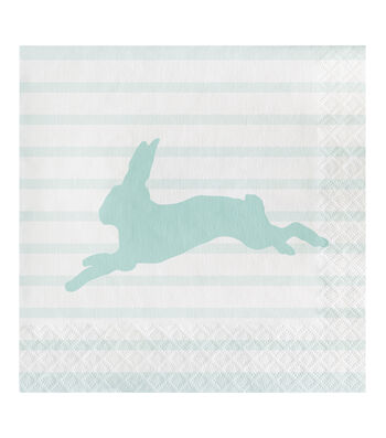Easter Decor 20 pk Lunch Napkins-Bunny Silhouette & Stripes