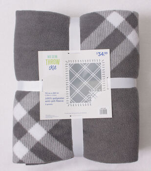 No Sew Fleece Throw Kit 72''x60''-Gray Plaid