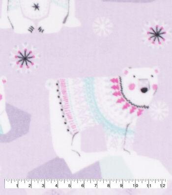 Anti-Pill Plush Fleece Fabric-Polar Bears on Purple