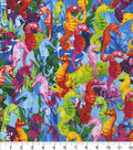 Novelty Cotton Fabric -Bright Seahorses in Coral
