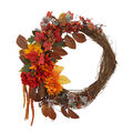 Blooming Autumn Mum, Pinecone, Heather & Berry Wreath