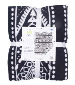 No Sew Fleece Throw Kit 72''-Tribal Lines