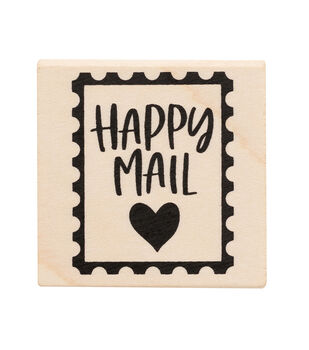 American Crafts Wooden Stamp Happy Mail