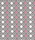 Snuggle Flannel Fabric 42\u0022-Pink Trellis Geo