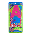 Quick Letter&Number Pads Repositionable 181/Pkg-Neon Colors Jumbo 4\u0022, W/Centering Ruler