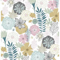 York Wallcoverings Wallpaper-Pink Perennial Blooms
