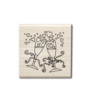 Hampton Art Outlines Wood Stamp-Champagne Glasses, , hi-res