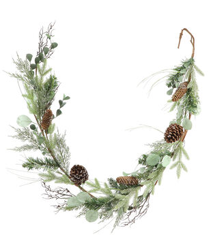 Handmade Holiday Christmas 66'' Pine, Pinecone & Eucalyptus Garland