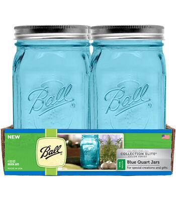 Ball Collection Elite Color Series 4 pk 32 oz. Quart Jars-Blue