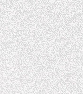 Quilter's Showcase Cotton Fabric -White Swirl Vine on Gray