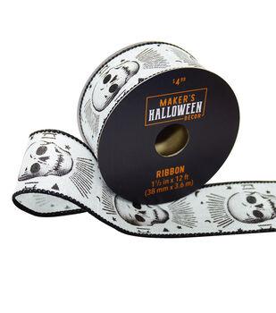 Maker's Halloween Decor Ribbon 1.5''x12'-Skulls on White