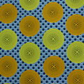 Cotton Shirting Fabric-Blue Yellow Circles