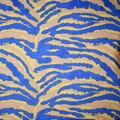 Silky Print Textured Fabric-Yellow & Blue Tiger Print