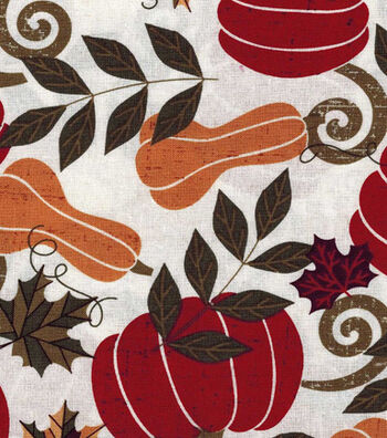Fall Harvest Cotton Fabric- Gords And Leaves Allover