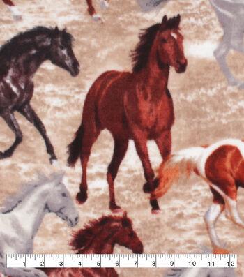 Anti-Pill Plush Fleece Fabric-Real Horses Running