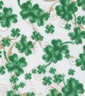 St. Patrick\u0027s Day Cotton Fabric-Lucky Shamrocks & Metallic Swirls