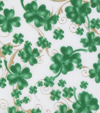 "St. Patrick's Day Cotton Fabric 43""-Lucky Shamrocks White Metallic"
