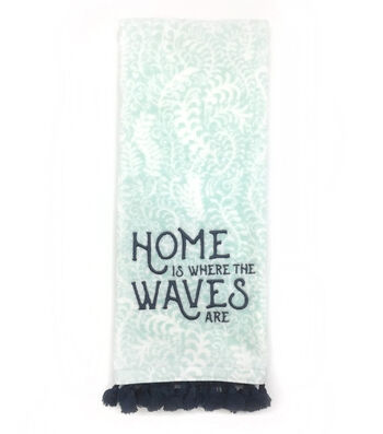 Seaport 16''x28'' Velour Terry Towel-Home Is Where The Waves Are