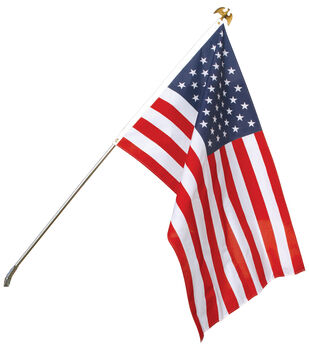 Poly-Cotton US Flag Set with Steel Pole 3'x5'