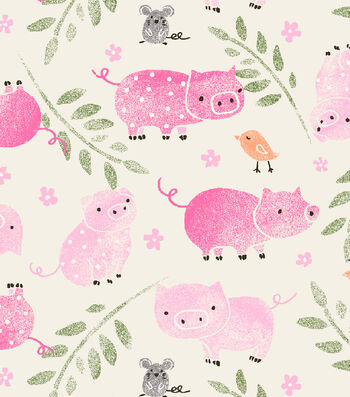 Snuggle Flannel Fabric-Little Piggys
