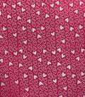 Metallic Flannel Fabric-Pink Heart Metallic
