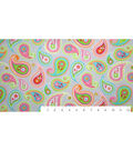Snuggle Flannel Fabric 43\u0022-Paisley Pink Green