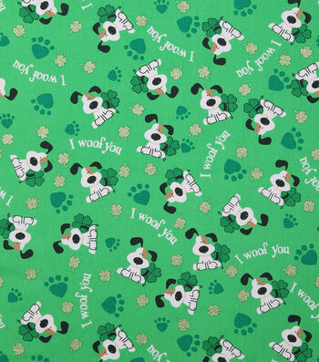 """St. Patrick's Day Cotton Fabric 43""""-I Woof You Green Glitter"""