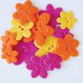 Favorite Findings Felt Buttons-Brilliant Blooms 17/pkg