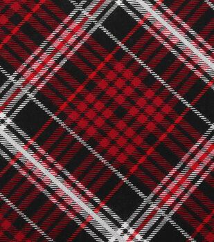 christmas cotton fabric red black plaid - Christmas Plaid Fabric