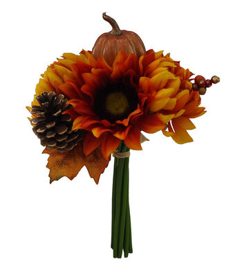 Blooming Autumn Sunflower, Pumpkin, Mum & Pinecone Bouquet-Orange