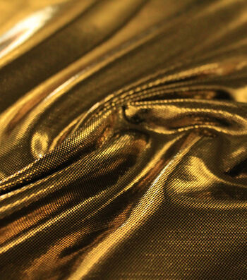 Metallic Apparel Bodre Fabric 44''-Gold Foil Dot