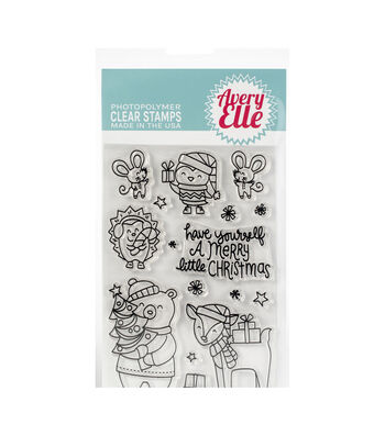 Avery Elle Christmas 16 pk Clear Stamps-A Merry Little Christmas