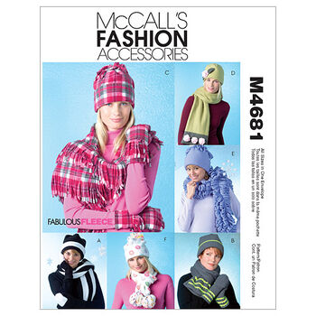McCall's Patterns M4681 Hats, Scarves & Mittens-Size S-M-L