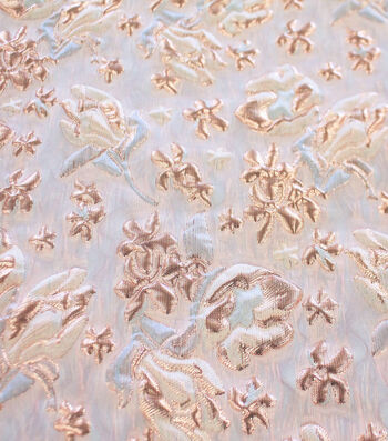 "Puffed Metallic Jacquard Fabric 57""-Blush Floral"