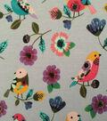 Doodles Juvenile Apparel Fabric -Printed Parakeets Interlock