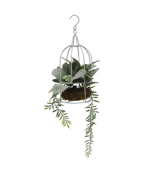 Fresh Picked Spring 16'' Birdcage with Greenery