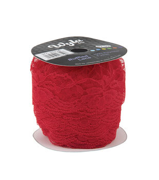 Wyla Colored Ruffled Lace-Ribbon Red 720