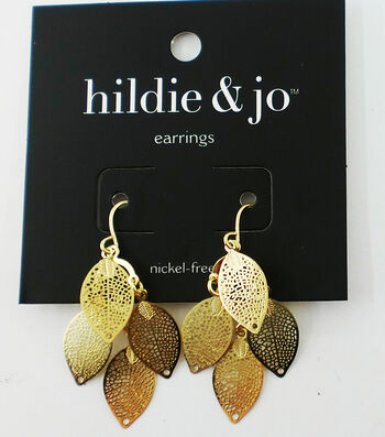 hildie & jo Leaves Dangle Earrings-Gold Shades