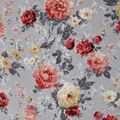 Luxe Fleece Fabric-Gray Rust Pretty Floral