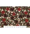 Christmas Cotton Fabric-Mini Poinsettia & Holly