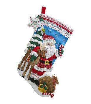 "Bucilla 18"" Stocking Felt Applique Kit-Nordic Santa"