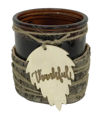 Blooming Autumn Glass Container with Laser Cut Leaf Tag-Thankful