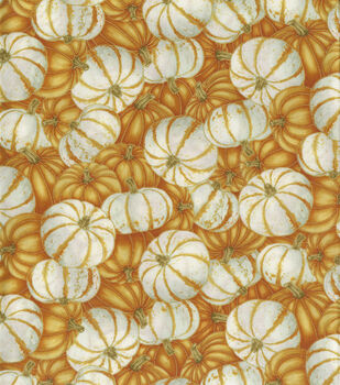 Harvest Cotton Fabric-Orange & White Pumpkins