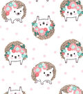 Nursery Cotton Fabric-Hanna White Tossed Hedgehog