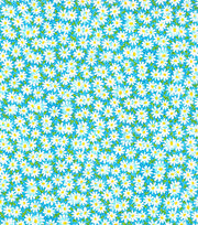 Keepsake Calico Cotton Fabric-Packed Daisies on Teal, , hi-res